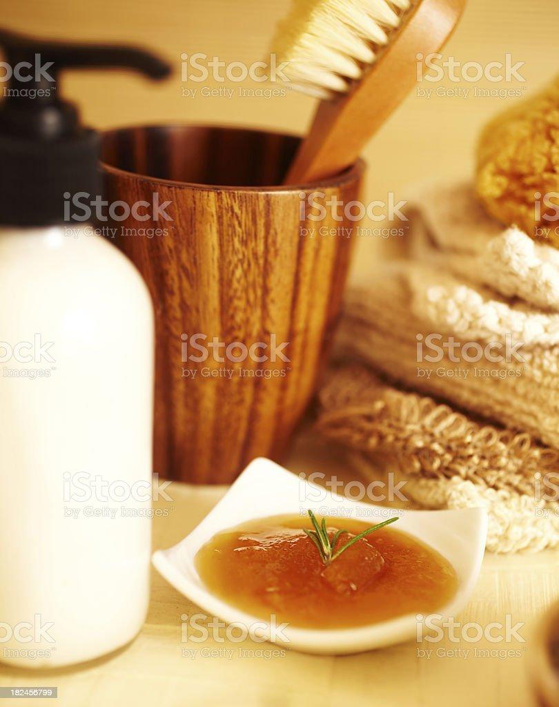 Spa still life with honey, rosemary and bath products royalty-free stock photo
