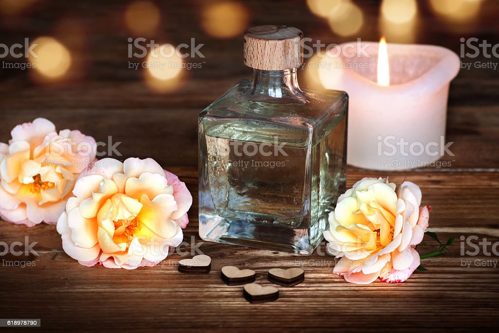 Spa still life with lavender oil stock photo