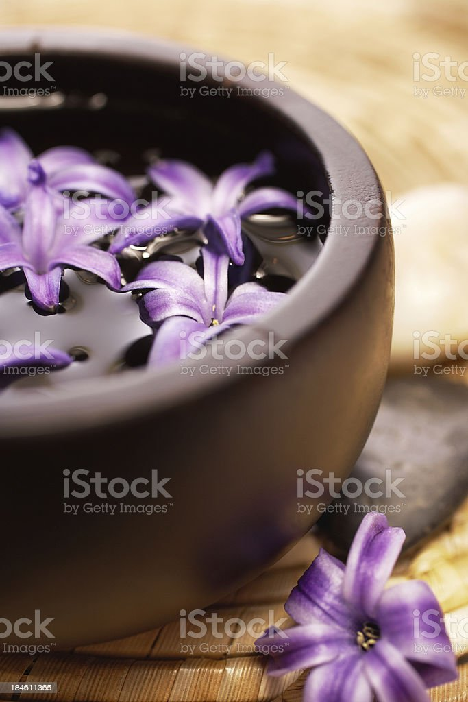 "Spa still life with orchid ""Spa still life with purple orchid, massage oil, soap and river rocks"" Beauty Stock Photo"