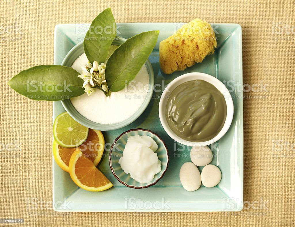 Spa still life with organic mud mask and moisturizer stock photo