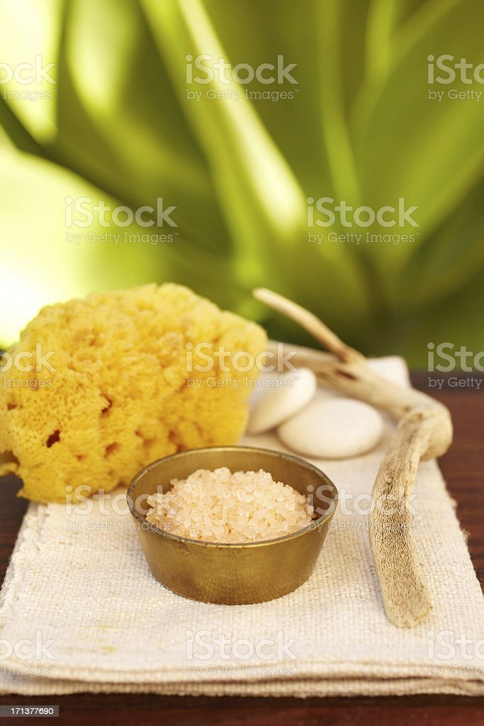 Spa still life with salt scrub mask in a bowl royalty-free stock photo