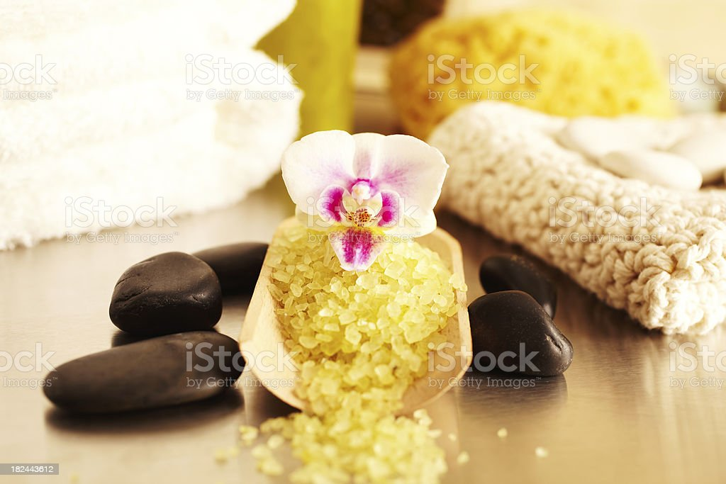 Spa still life with sea salt scrub and flower, bathroom royalty-free stock photo