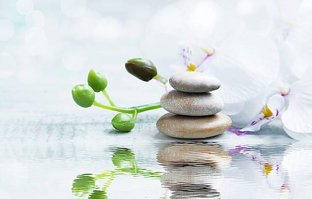 spa-stillleben mit steinen, orchidee auf wasser reflexion - wasserlilien stock-fotos und bilder