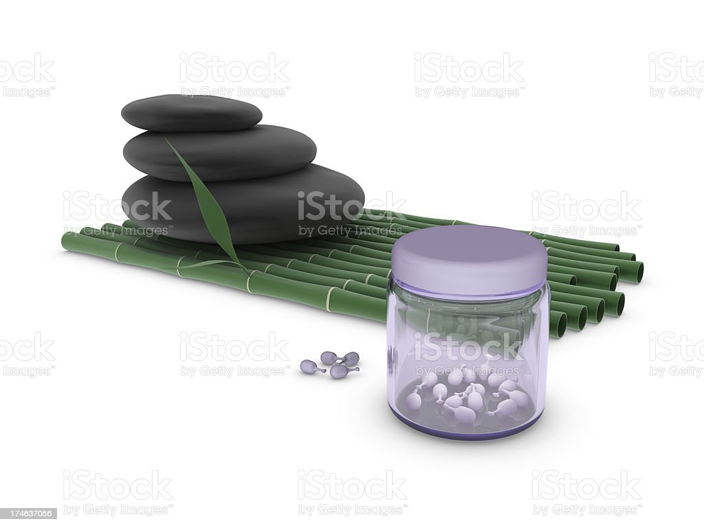 Spa - Stone, Bamboo and Gel Capsules royalty-free stock photo