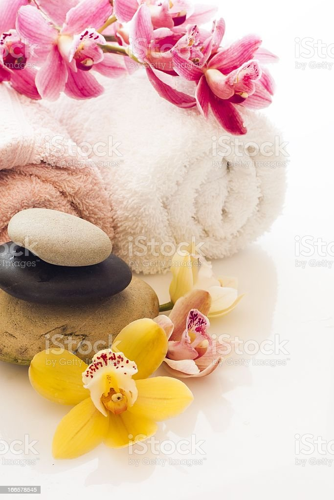 spa stones and towel royalty-free stock photo