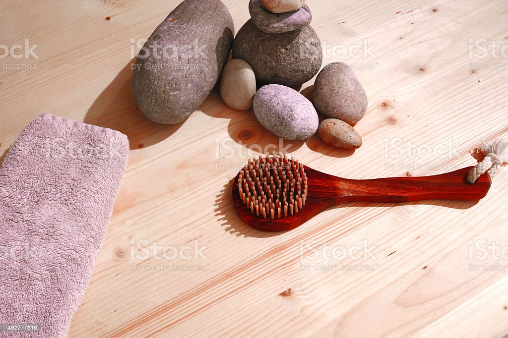 Spa Stones Brush And Towel Background stock photo