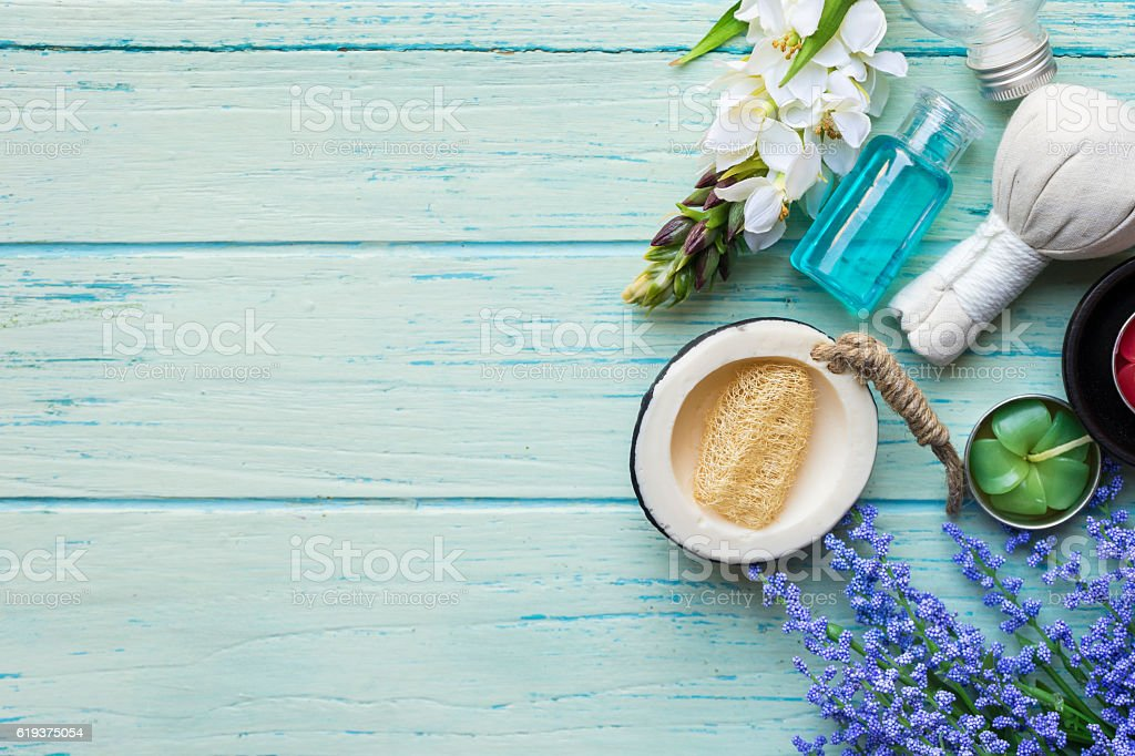 spa theme object on wood background stock photo