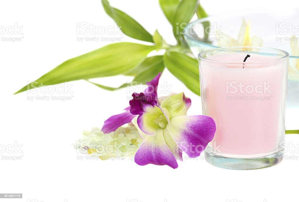 spa theme with pink candle royalty-free stock photo