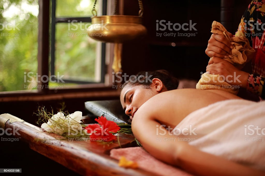 Spa Therapist Treating stock photo