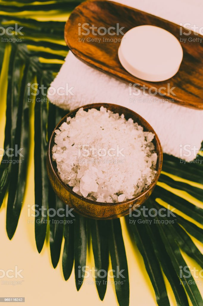Spa therapy setting, bath tropic climate massage arrangement royalty-free stock photo