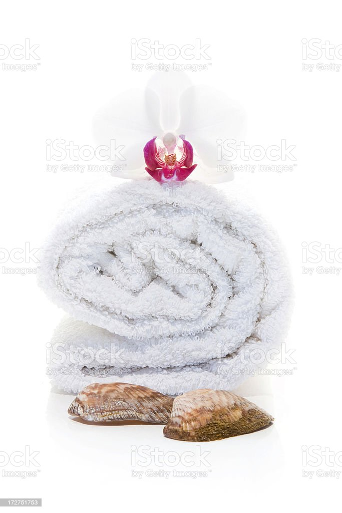 Spa Towel, Orchid and Sea Shells royalty-free stock photo