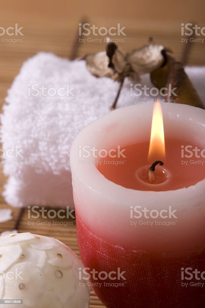Spa towels and candle royalty-free stock photo