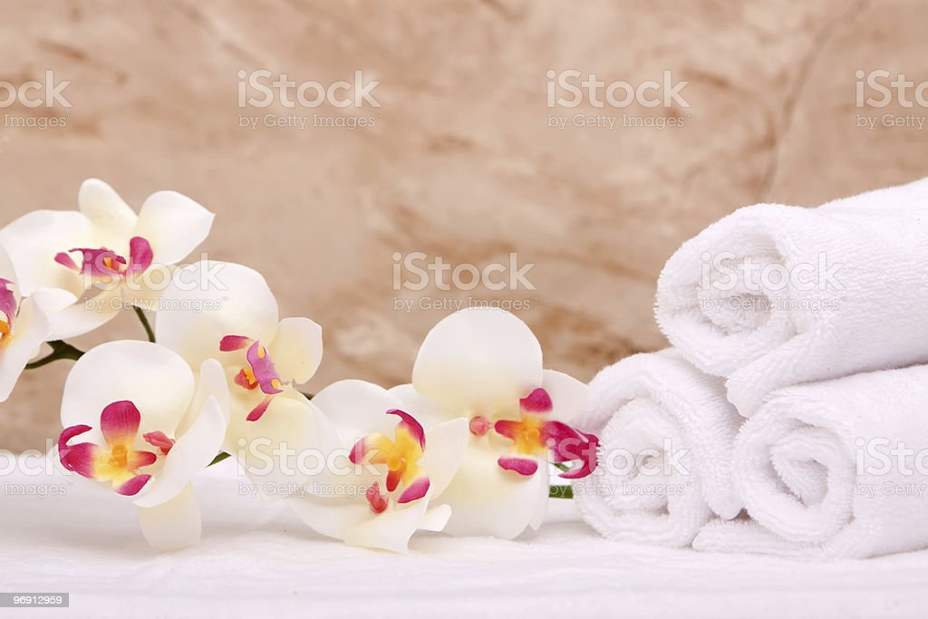Spa towels and orchid royalty-free stock photo