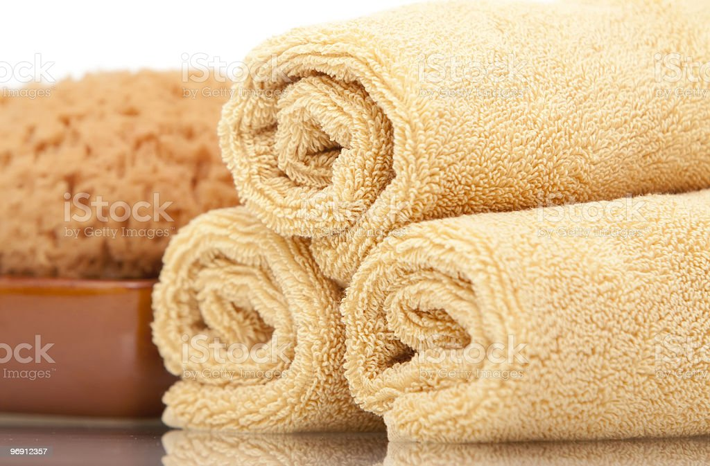 Spa towels and sponge royalty-free stock photo