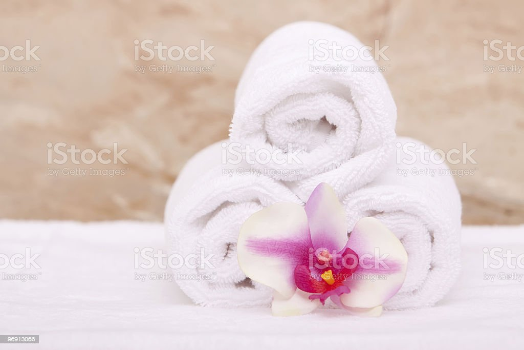 Spa towels with orchid royalty-free stock photo