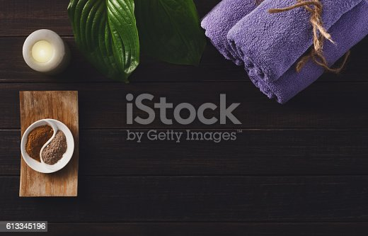 istock Spa treatment, aromatherapy background. Details and accessories 613345196