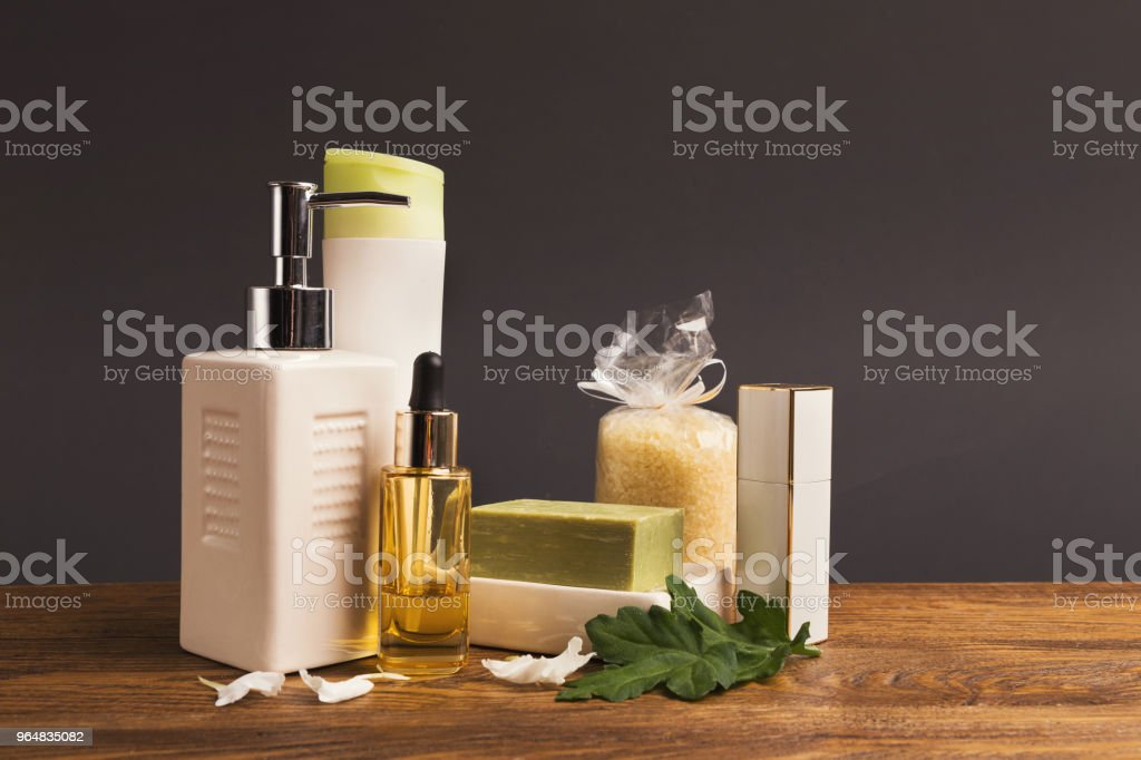 Spa treatment composition on gray background royalty-free stock photo