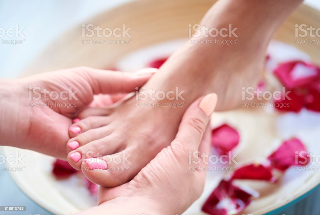 Spa treatment for tired feet stock photo