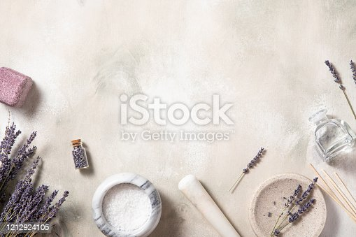 Spa treatment natural background .Top view, flat lay. Self-care concept.