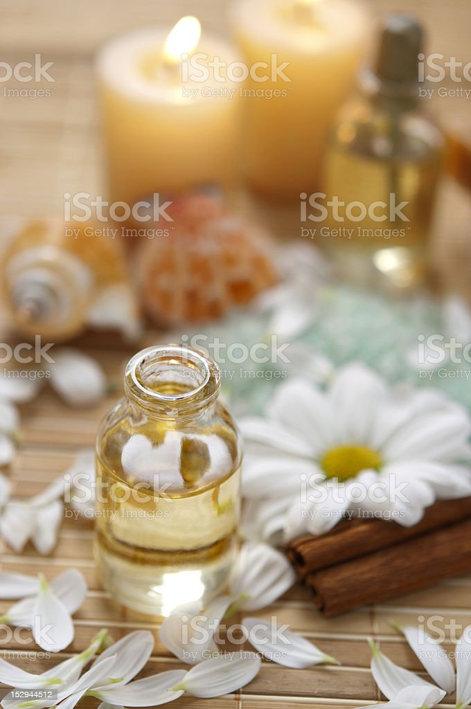 Many Spa Products with flower. Photographed in a studio.