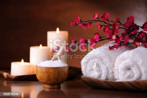 Tranquil scene with bath and massage items. XXXL image