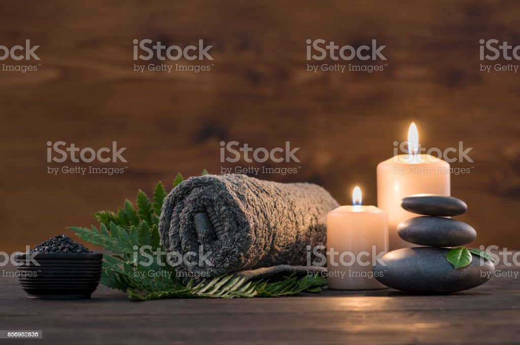 Spa treatment set stock photo