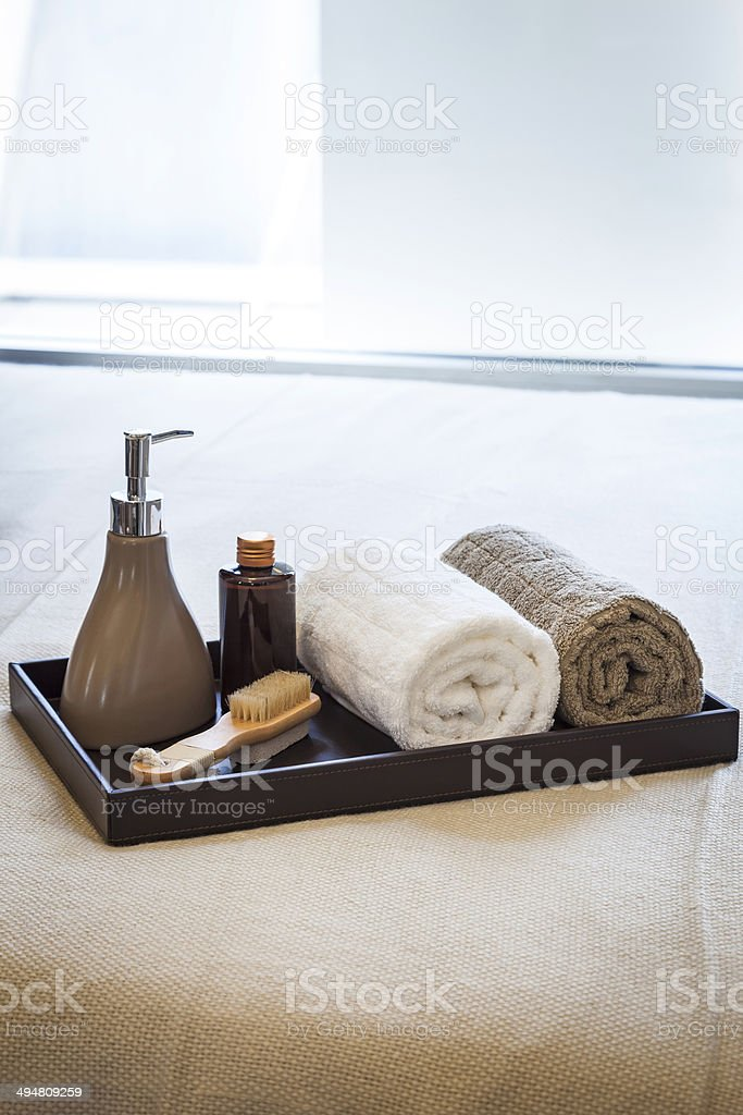 Spa Treatment set with Towels and Brush stock photo