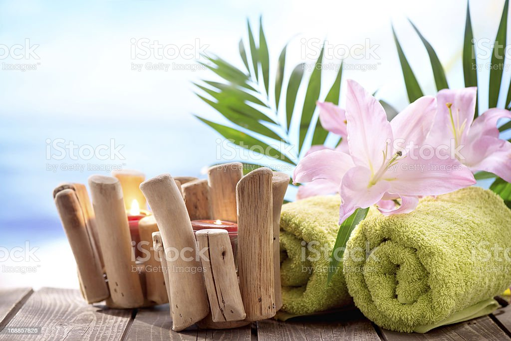 Spa Treatment with tropical beach background royalty-free stock photo