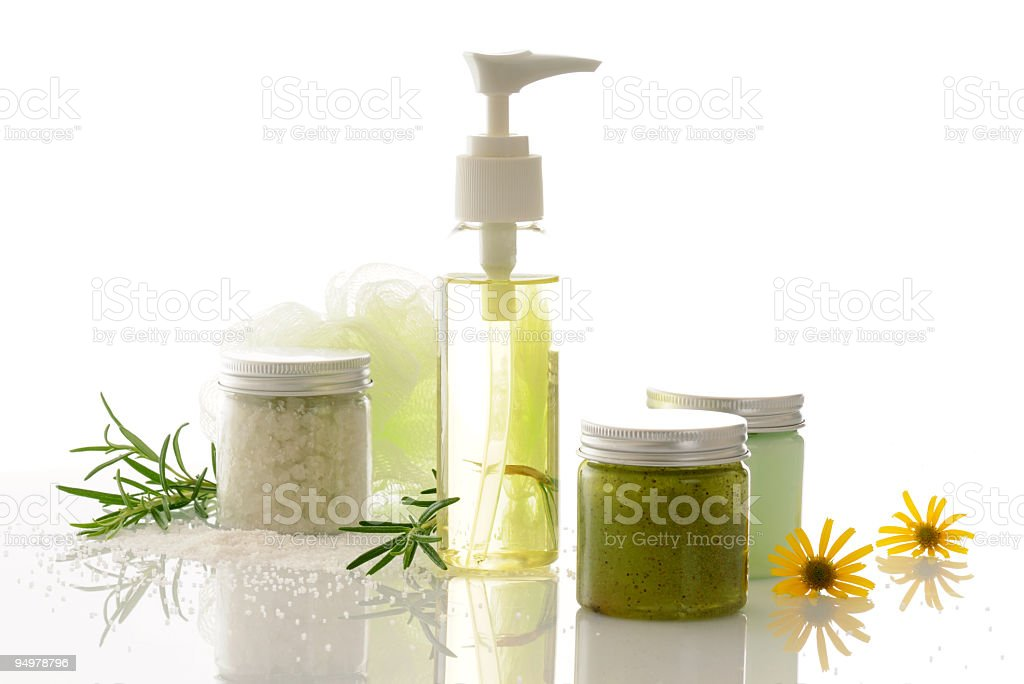 Spa treatments and flowers isolated on white background stock photo