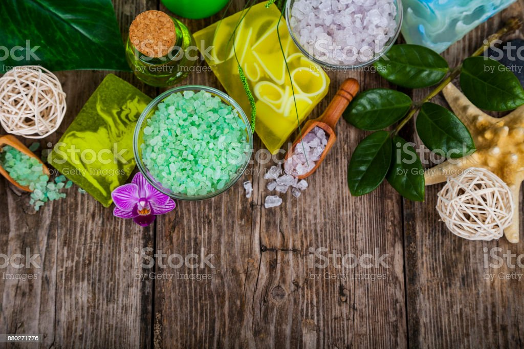 Spa treatments on a wooden table. stock photo