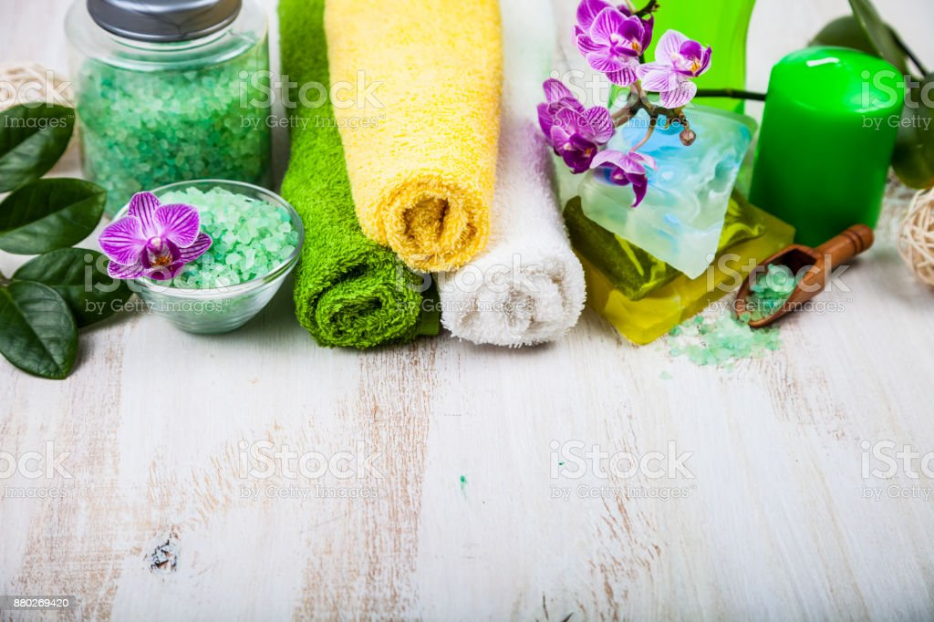 Spa treatments on  wooden table. stock photo