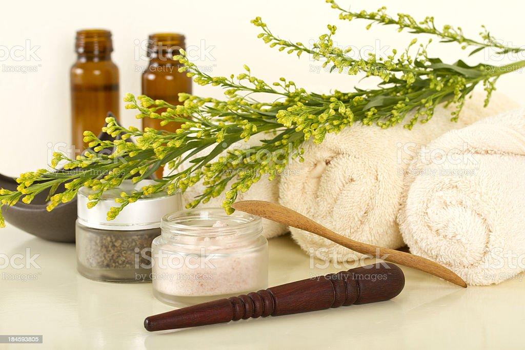 Spa treatments products with plants royalty-free stock photo