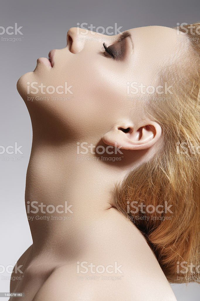 Spa, wellness & beauty. Clean skin of female face stock photo
