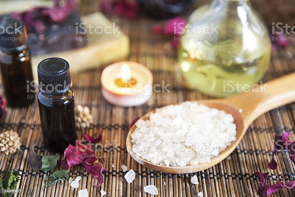 Spa with natural bath salt royalty-free stock photo