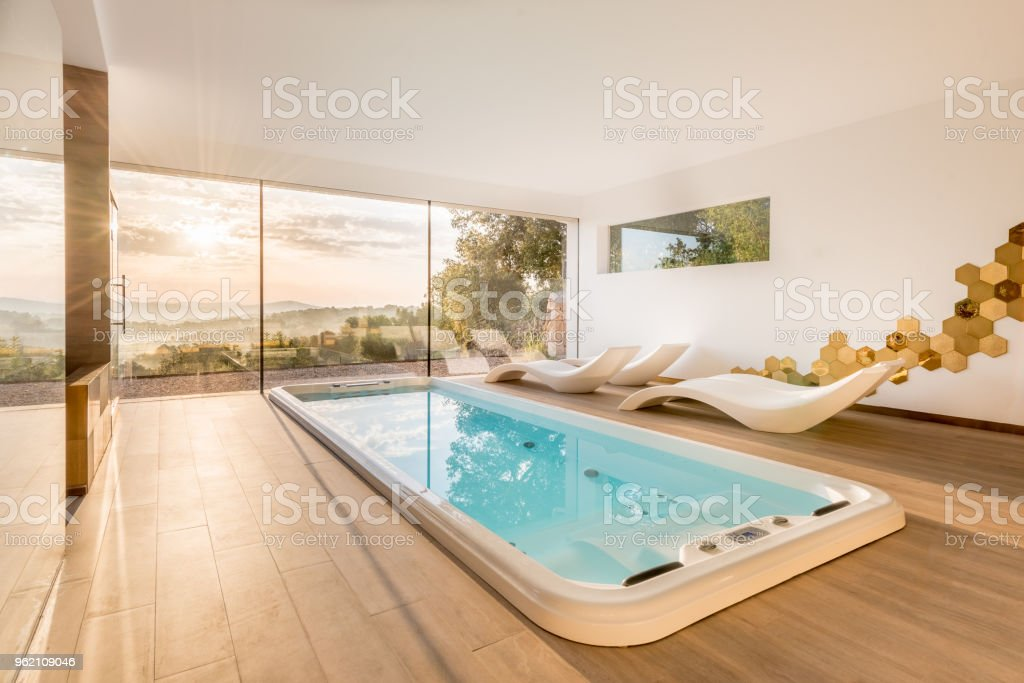 Spa with whirlpool and sauna stock photo