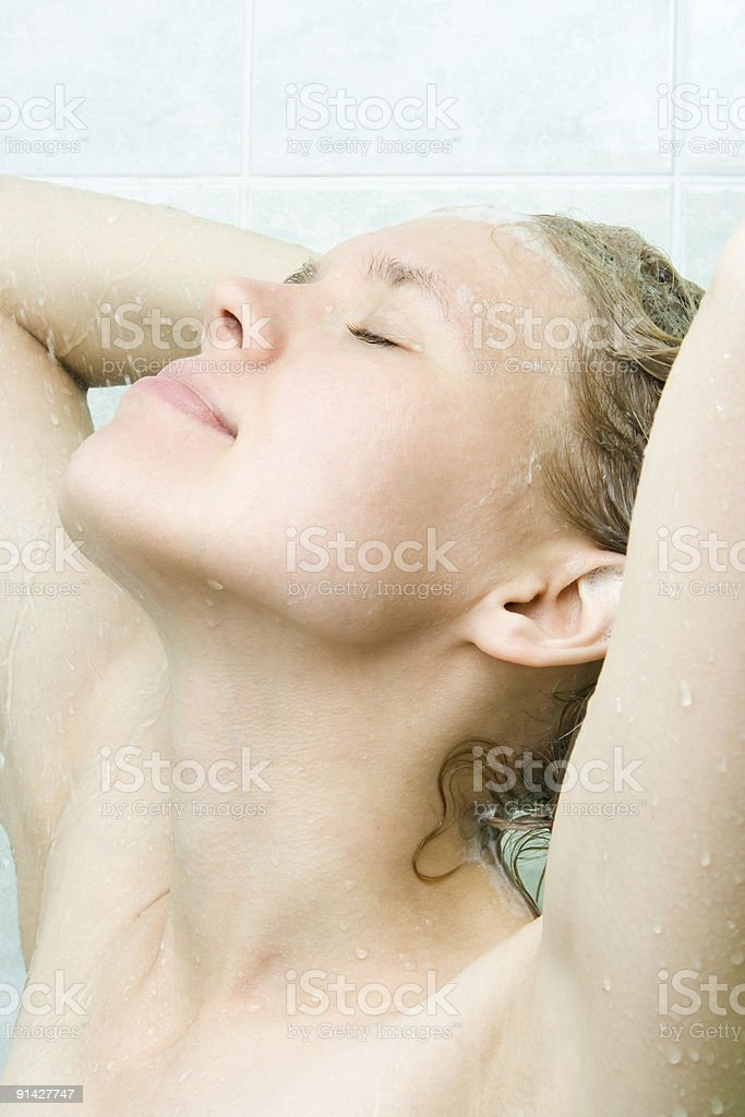 spa young beauty woman  under shower royalty-free stock photo