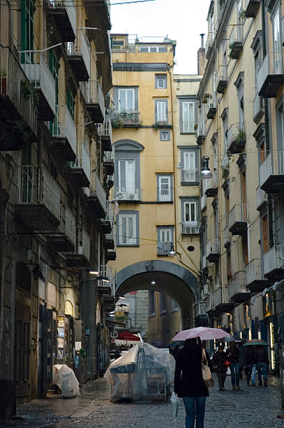 Spaccanapoli street of Naples under the rain stock photo