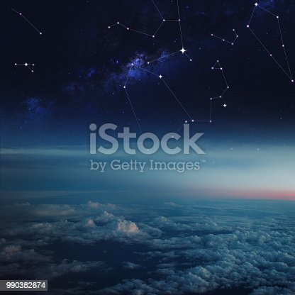 Space above the clouds, constellations in the starry sky