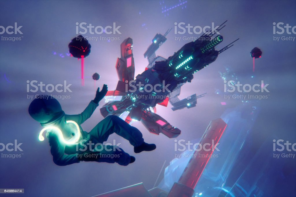 Space accident and floating astronaut stock photo