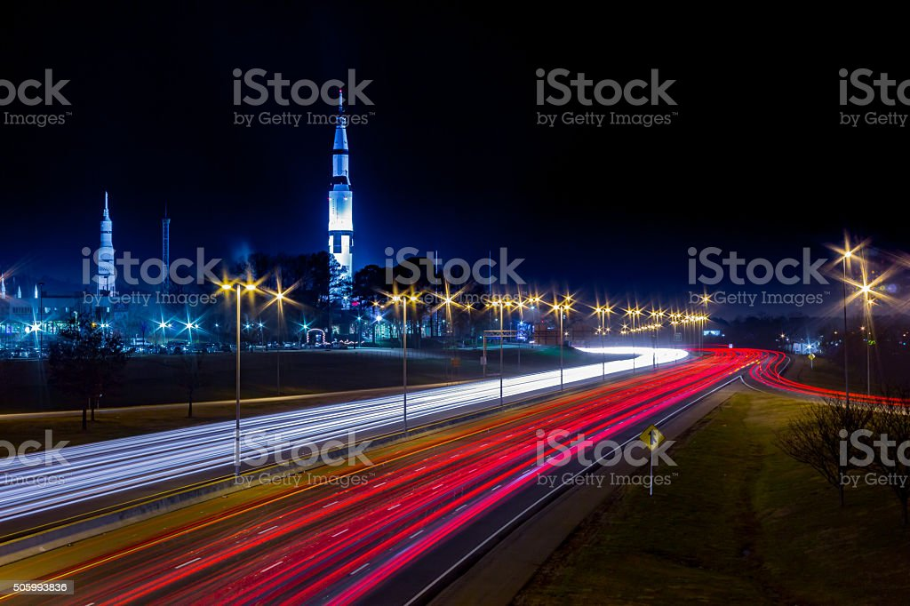 U.S. Space and Rocket Center Huntsville, AL with highway royalty-free stock photo