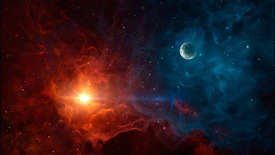 Space background. Colorful nebula with planet. https://asd.gsfc.nasa.gov/blueshift/wp-content/uploads/2015/07/eso0932a.jpg