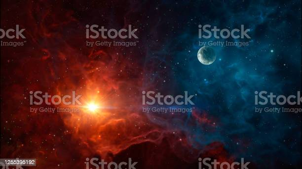 Photo of Space background. Colorful nebula with planet
