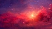 Space background. Colorful nebula with two planet. Digital hand painting