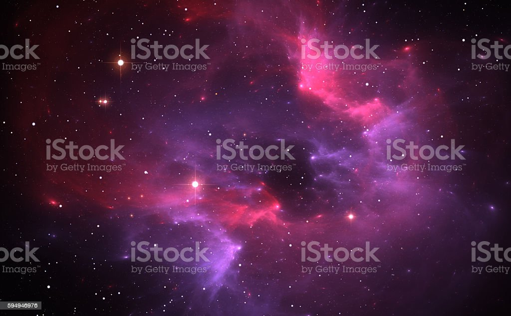 Space background with purple nebula and stars stock photo