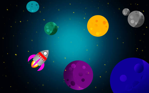 space background with rocket and planets - rocket logo stock photos and pictures