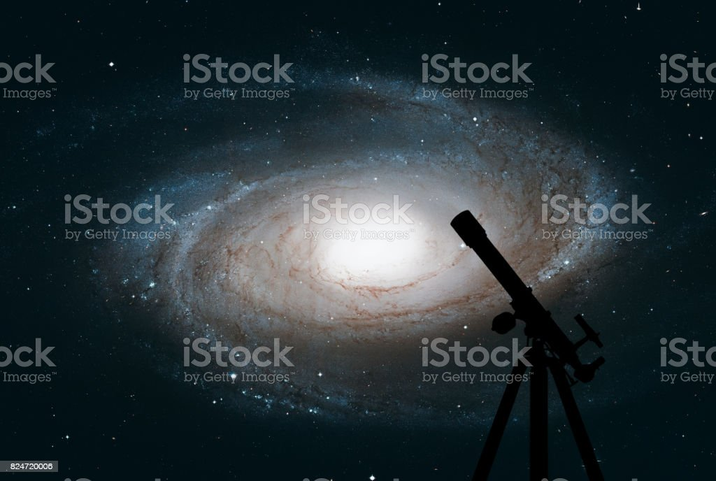 Space background with silhouette of telescope. Bode's Galaxy, M81, Spiral galaxy in the constellation Ursa Major. stock photo