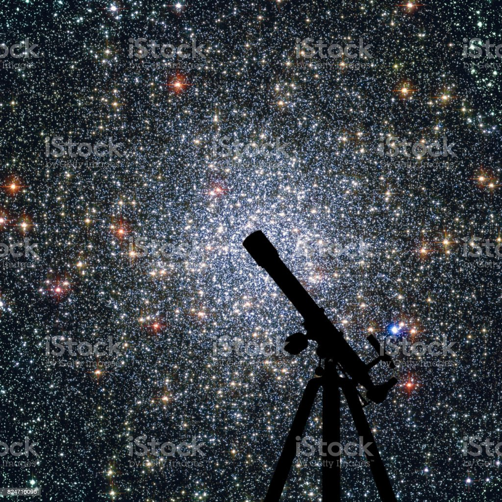 Space background with silhouette of telescope. Globular cluster 47 Tucanae,  NGC 104  in the constellation Tucana stock photo