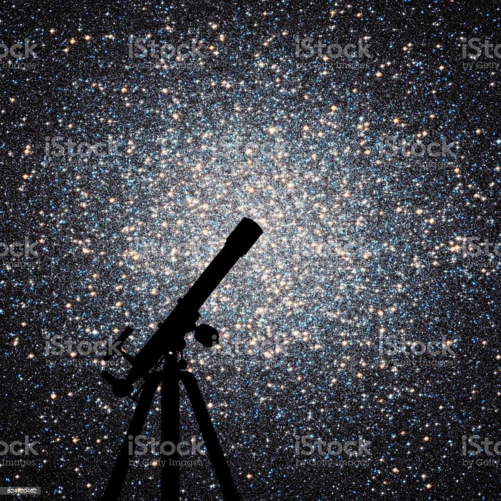 Space background with silhouette of telescope. Globular cluster Omega Centauri in constellation Centaurus stock photo