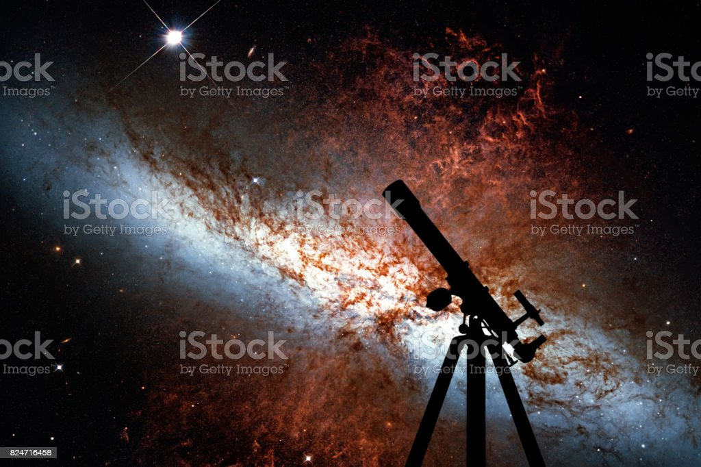 Space background with silhouette of telescope. Messier 82, Cigar Galaxy or M82 in the constellation Ursa Major stock photo