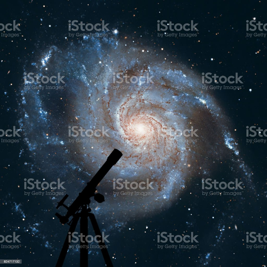 Space background with silhouette of telescope. Pinwheel Galaxy Messier 101, M101 in the constellation Ursa Major stock photo